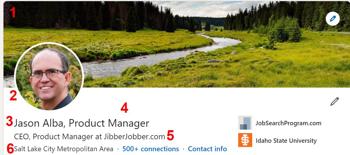 Jason Alba LinkedIn Profile Header Anatomy