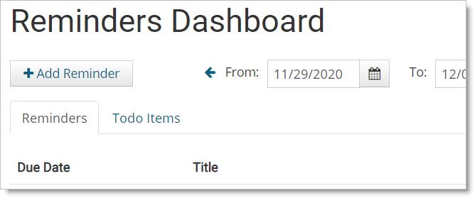 JibberJobber Reminders Dashboard