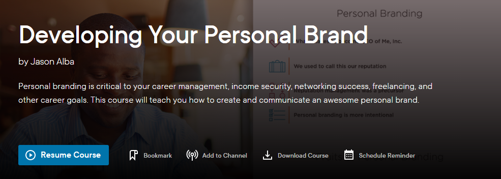 Pluralsight Developing Your Personal Brand Header
