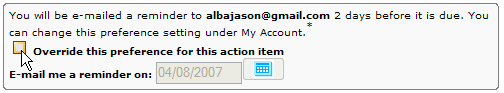 Sending myself an action item via e-mail