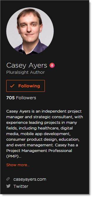 Casey Ayers Pluralsight Author