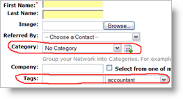 Categories and Tags, when adding a new contact