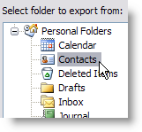 Choose Contacts Folder