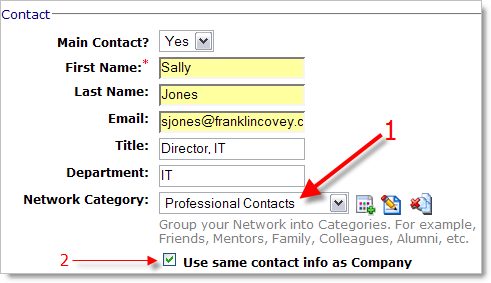 Adding a company contact and putting them in your network