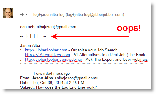 jibberjobber-email2log-logendline_notworking