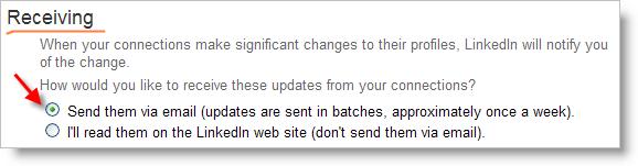 LinkedIn - settings to receive profile updates