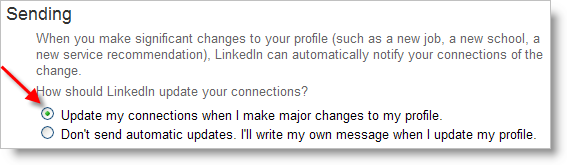 LinkedIn - let me contacts know I changed my profile