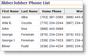 Phone List - from JibberJobber