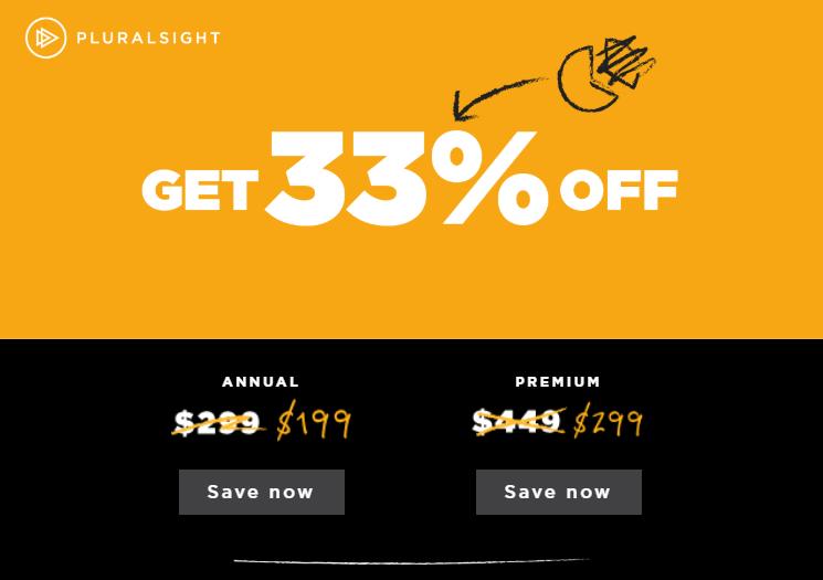 Pluralsight 33% Off