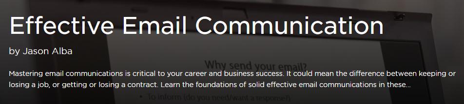 Pluralsight Effective Email Communication