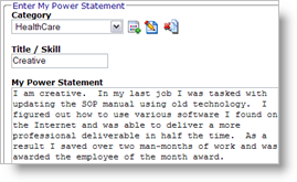 example power statement for a job interview