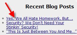 see recent blog posts