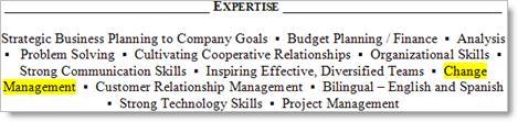 Resume - list of experiences